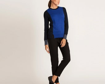 Long sleeve pullover, blue winter top, scoop neck, fitted blouse, short sweater, black and blue, sale, casual shirt, knitted top, day wear