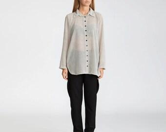 White buttoned down blouse, buttoned shirt, sheer top, Collar Blouse, classic shirts, geometric shirt, office shirt, semi sheer top