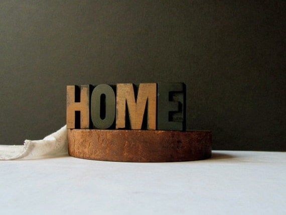 Vintage Letterpress Home Printers Blocks Sign New Home Housewarming Gift Fireplace Sign Letter H O M E Welcome Family