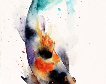 KOI Watercolor Fish Print, Koi Art, Koi Painting, by Dean Crouser