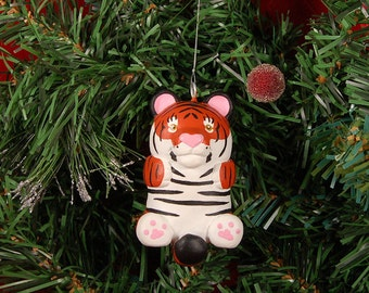 Hand Sculpted Pudgie Tiger Ornament