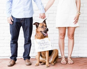 My Humans Are Getting Married Wedding Engagement Announcement Sign   Hanging Dog Banner Handmade in USA Modern Script Font 1064 BW