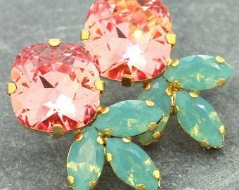 Peach Coral Mint Earrings,Peach Mint Swarovski Earrings,Peach Green Crystal Studs,Bridal Coral Mint,Bridesmaids Peach Earrings,Bridal Studs