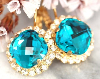 Swarovski Drop Earrings,Blue Teal Earrings,TUrquoise Swarovski Earrings,Bridal Earrings,Bridesmaids Earrings,Teal Earrings,Dangle Earrings