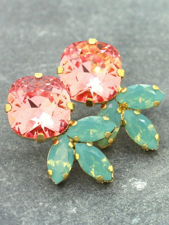 Pretty coral, mint, & gold earrings