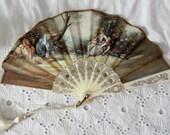 Vintage Small Hand Fan Victorian Scene Fabric Gold Handfan Elegant Decorative Fan Pictural