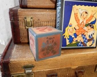 Vintage Large Solid Wood ~Nursury Decor Block ~Teddy bear~Number Block