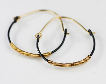 golden egg modern hoop earrings - 14K gold fill and sterling silver statement jewelry READY TO SHIP - handmade in seattle