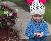 Double Pom Pom Hat / Newborn Pompom Beanie / Winter Baby Hat / Tiny Hearts Pom Hat / Fall Baby Beanie / Two Pompoms Hat /