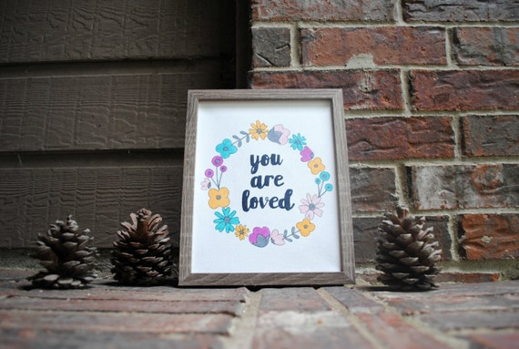 "8""x10"" You are Loved with Floral Frame Wrapped StretchedCanvas"