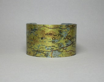 Adirondack Mountains Map Cuff Bracelet New York Unique Hiker Outdoorsman Gift for Men or Women