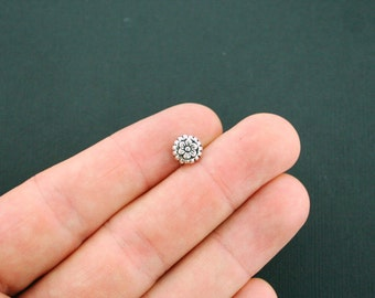 12 Flower Beads Antique Silver Tone 2 Sided Spacer Beads - SC5794