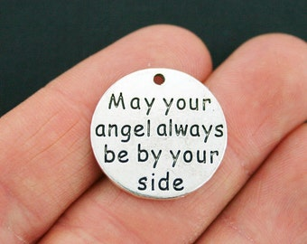 2 Angels by your side Charms Antique Silver Tone - SC5398