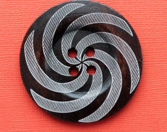 2 Huge Wood Buttons Extra Large 60mm Rich Brown with Abstract Swirl Design - BUT94