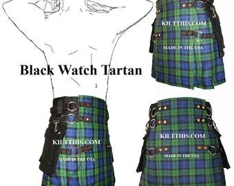 Interchangeable Kilt Handmade Soft Cotton Black Watch Tartan Adjustable Custom Fit with Large Expanding Cargo Pockets