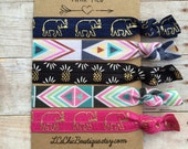 Boutique Elastic Hair Ties Aztec Pineapple Elephant 5 pack - awesome gift