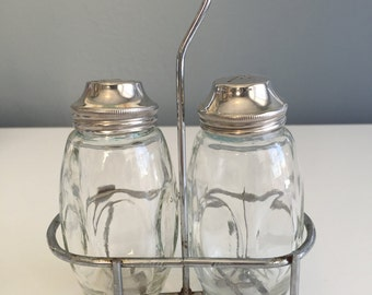1950s Diner Salt and Pepper Shakers in Caddy