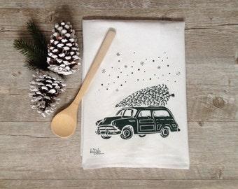 Christmas Tea Towel Retro Car and Winter Evergreen Woody Wagon Tree Snow Holiday Flour Sack Dish Cloth Rustic Woodland Cyber Monday Sale