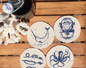 Nautical Drink Coasters Beer Coasters Wine Coasters Coastal Decor Hostess Gift Home Decor Nautical Summer Decor Outdoor Decor Entertaining