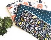 Personalized Friend Gift, Zipper Pouch, Gift for Friend Birthday, Small Gift for Her, Zipper Bag, Navy Blue and Coral, Floral and Plus Sign