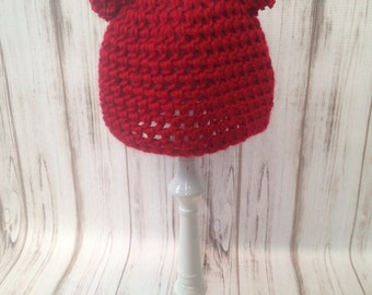 Red Double Pom Pom Hat, Custom Hat, Photography prop, Newborn to Adult Hat