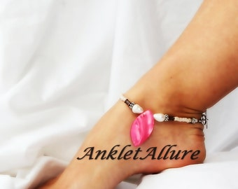 Beach Chic Hawaiian Hot Pink Leaf Shell Anklet Pearl Ankle Bracelet Cruise Vacation Beach Anklet