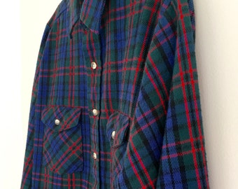 Mens Tall L Tartan Plaid Shirt McGregor Cotton Flannel Long Sleeve Button Down Made In USA Vintage Heavyweight Size 16 Large 16 1/2