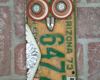 Upcycled License Plate Owl Yard Art Rustic Recycled