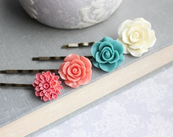 Flower Bobby Pins Coral Rose Hair Pins Teal Rose Dahlia Hair Slides Floral Clips Bohemian Boho Chic Colorful Hair accessories Gift under 25