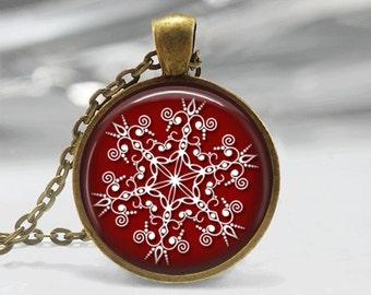 Christmas Necklace Christmas Jewelry Glass Tile Necklace Snowflake Jewelry Snowflake Necklace Glass Tile Jewelry Silver Jewelry Brass