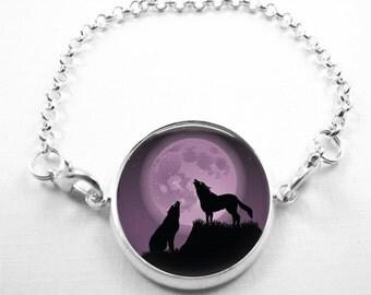 Wolf Bracelet Glass Tile Bracelet Glass Tile Jewelry Wolf Jewelry Wolf Bracelet Silver Bracelet Silver Jewelry Animal Jewelry Moon Jewelry
