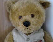 "Chiltern Bear 21"" - Large 1950's Chiltern with Label - Vintage Mohair Chiltern Bear - Old Toy Bear in Waistcoat"