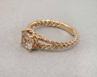 Cushion Morganite 18k Rose Gold Engagement Ring, Morganite Engagement Ring, Twisted Rope Rose Gold Morganite Engagement Ring, Rose Gold Ring