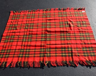 Vintage Blanket Picnic Tailgate Stadium RV Glamping Camping Red Plaid Acrylic Faribo