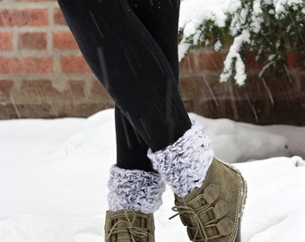 Chunky wool knit Ankle Boot Cuffs - The Ipswich, Ankle Boot Cuffs - MARBLE