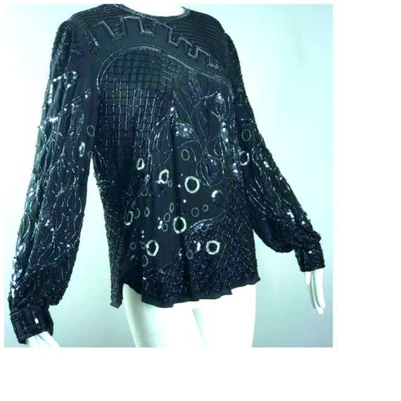 ViNtAgE Black & Silver Sequin Bead Top Deco Gatsby Cocktail Party Deco Trophy Beaded Dress Silk Blouse evening
