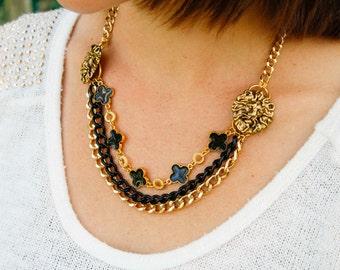 Lions Triple Strand Necklace in Black & Gold - Repurposed Vintage, Quatrefoil, Statement