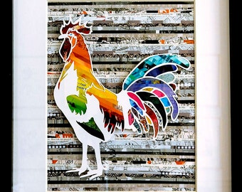 Rooster Wall Art - An Original Cut Paper Farm Animal Collage