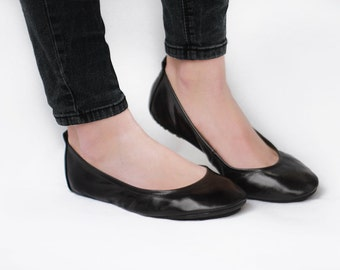 Ballet flats - Simply Me in lustrous black -  Handmade Leather shoes - CUSTOM FIT