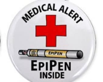EPIPEN INSIDE Medical Alert Zipper Pull Charm (Choose Size and Backing Color)