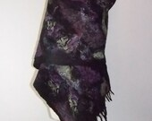 Felted scarf, Nuno felted scarf, wool scarf wet felted hand made Autumn shawl. Winter scarves