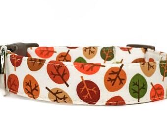 Dog Collar / Leaves Dog Collar / Fall Dog Collar / Autumn Dog Collar / Orange Brown Dog Collar / Adjustable Dog Collar / Tree Dog Collar