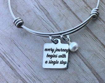 """Journey  Quote Charm Bracelet- """"every journey begins with a single step"""" laser etched charm with accent bead of you choice"""