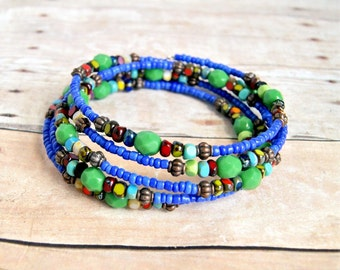 SALE!! 30% OFF blue green rainbow memory wire bracelet, bohemian, colorful, hippie