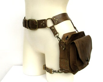 Chocolate and Antique Brass Leather Thigh Holster Bag - ENTERPRISE