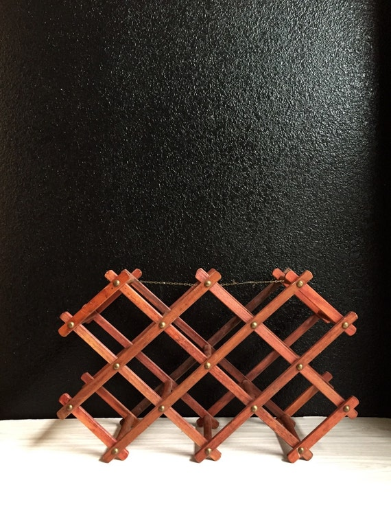 folding accordion reddish brown wood wine bottle rack / wine holder / barware