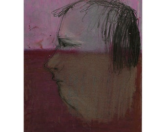 Man woman profile portrait art original drawing illustration pastel people