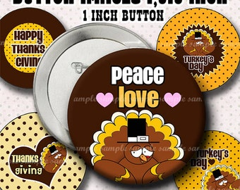 INSTANT DOWNLOAD Happy Turkey Day (794) Button Size Images 1,313 Inch ( 1 inch Button) Digital Collage Sheet for Badges Buttons  ....
