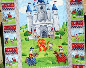 SALE Knight Baby Boy Quilt Crib Blanket Dragon Castle Prince Medieval Horses Red Gray Navy Nursery Bedding Handmade Blanket Ready to Ship