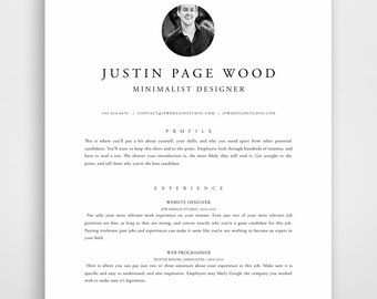 Resume Template with Photo, Teacher Resume, Creative Resume Template, Modern Resume Template, Instant Download, Resume Template Word